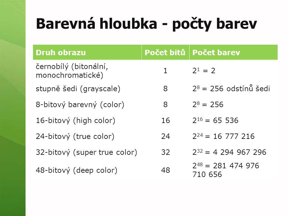 Barevná hloubka - počty barev Druh obrazuPočet bitůPočet barev černobílý (bitonální, monochromatické) 12 1 = 2 stupně šedi (grayscale)82 8 = 256 odstínů šedi 8-bitový barevný (color)82 8 = 256 16-bitový (high color)162 16 = 65 536 24-bitový (true color)242 24 = 16 777 216 32-bitový (super true color)322 32 = 4 294 967 296 48-bitový (deep color)48 2 48 = 281 474 976 710 656
