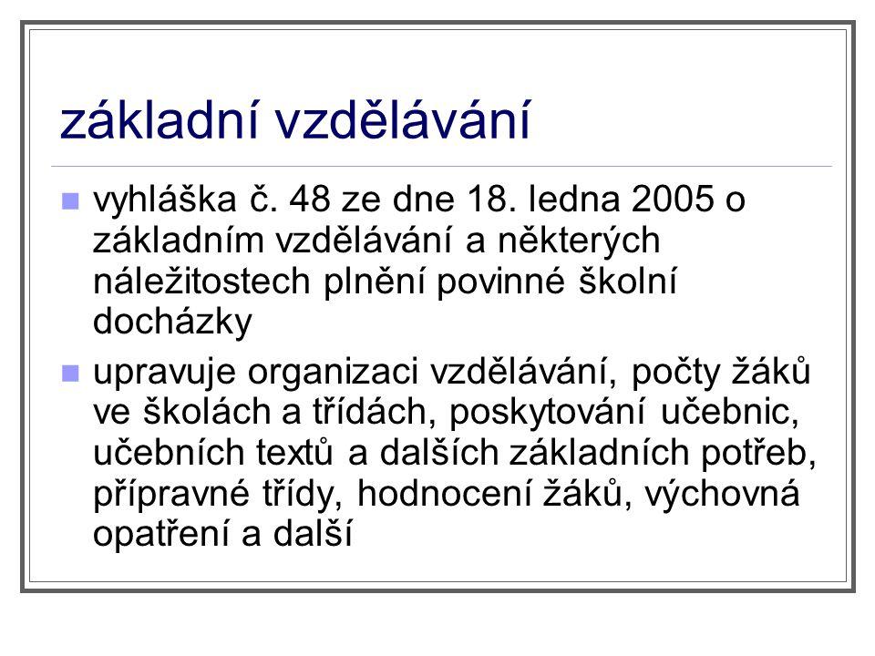 základní vzdělávání vyhláška č. 48 ze dne 18. ledna 2005 o základním vzdělávání a některých náležitostech plnění povinné školní docházky upravuje orga