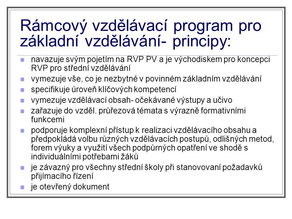 Rámcový vzdělávací program pro základní vzdělávání- principy: navazuje svým pojetím na RVP PV a je východiskem pro koncepci RVP pro střední vzdělávání
