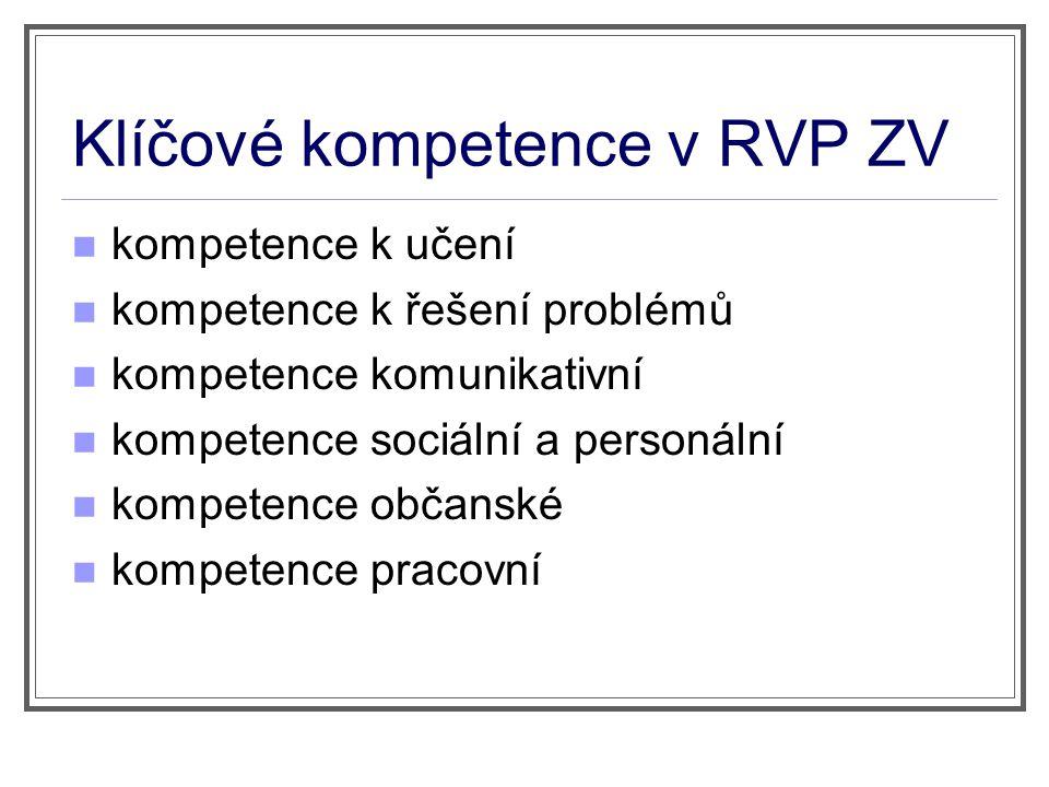 Klíčové kompetence v RVP ZV kompetence k učení kompetence k řešení problémů kompetence komunikativní kompetence sociální a personální kompetence občan