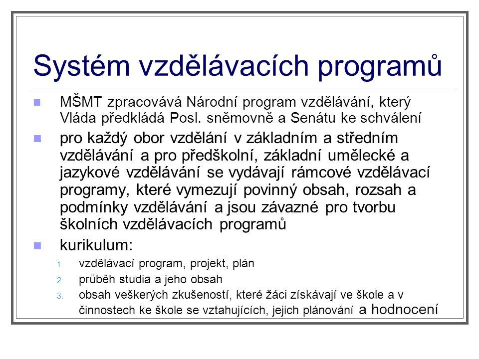 Systém vzdělávacích programů MŠMT zpracovává Národní program vzdělávání, který Vláda předkládá Posl. sněmovně a Senátu ke schválení pro každý obor vzd
