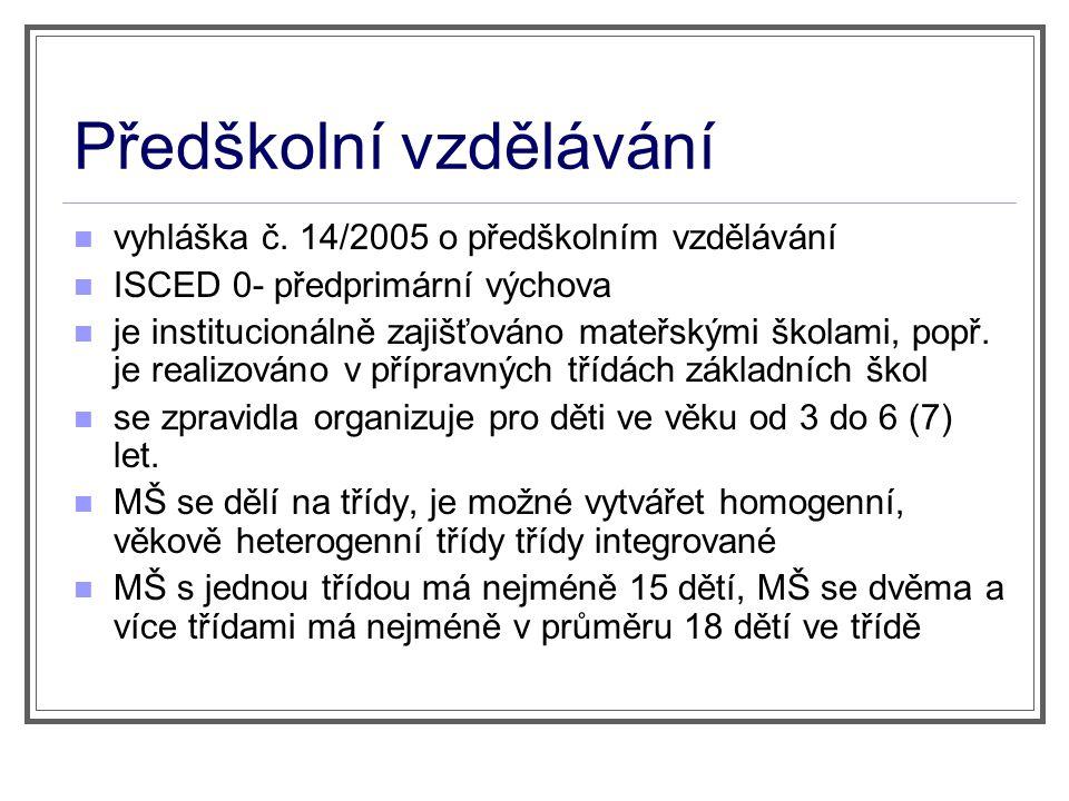 Předškolní vzdělávání vyhláška č. 14/2005 o předškolním vzdělávání ISCED 0- předprimární výchova je institucionálně zajišťováno mateřskými školami, po