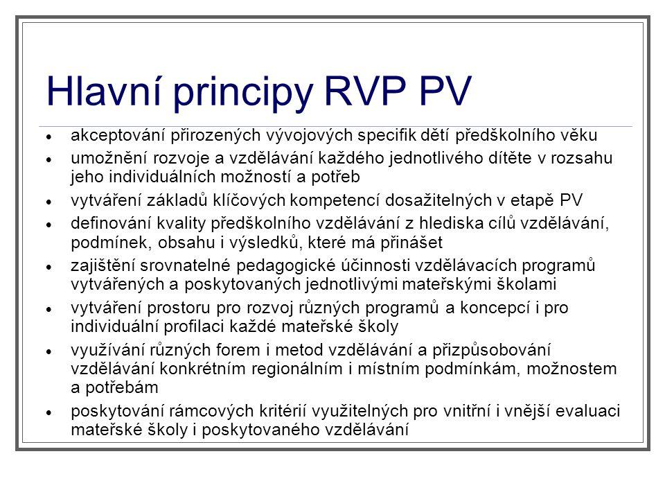 Hlavní principy RVP PV  akceptování přirozených vývojových specifik dětí předškolního věku  umožnění rozvoje a vzdělávání každého jednotlivého dítět
