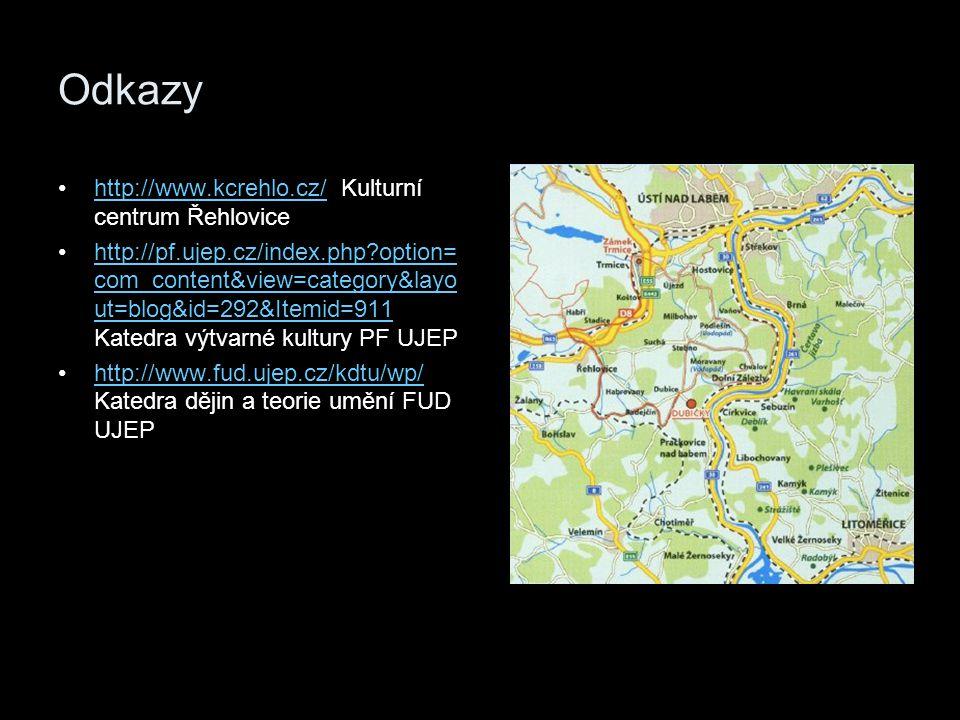 Odkazy http://www.kcrehlo.cz/ Kulturní centrum Řehlovicehttp://www.kcrehlo.cz/ http://pf.ujep.cz/index.php?option= com_content&view=category&layo ut=b