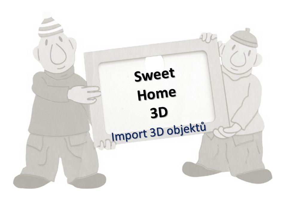 Přístup k 3D objektům www.sweethome3D.com Otevřete si uvedené webové stránky Zvolte v levé nabídce 3D Models (viz další snímek) Když si stránku přepnete do češtiny, stejně se kliknutím na 3D Models zobrazí v angličtině, což nevadí, protože stejně vybíráte obrázky.