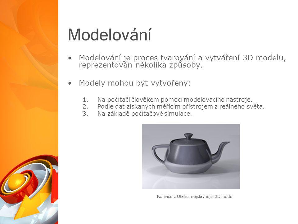 Modelování Modelování je proces tvarování a vytváření 3D modelu, reprezentován několika způsoby.