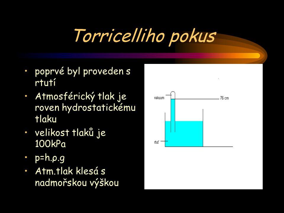 Torricelliho pokus poprvé byl proveden s rtutí Atmosférický tlak je roven hydrostatickému tlaku velikost tlaků je 100kPa p=h.ρ.g Atm.tlak klesá s nadm