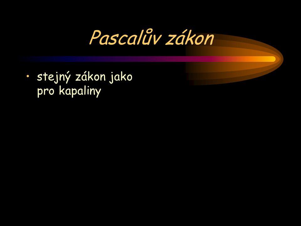 Pascalův zákon stejný zákon jako pro kapaliny