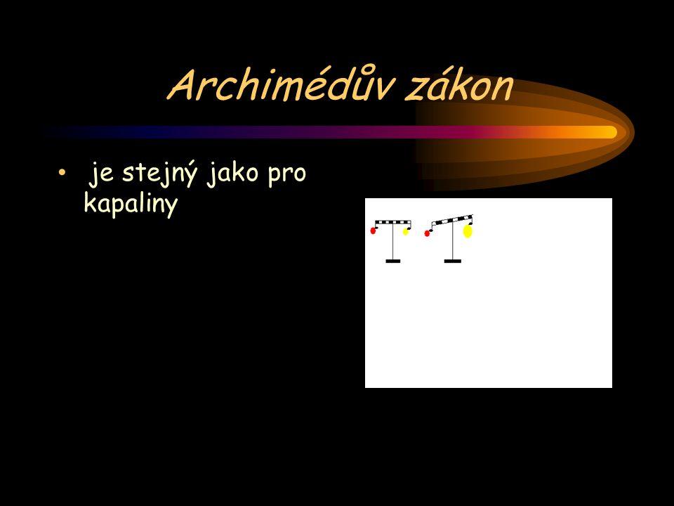 Archimédův zákon je stejný jako pro kapaliny