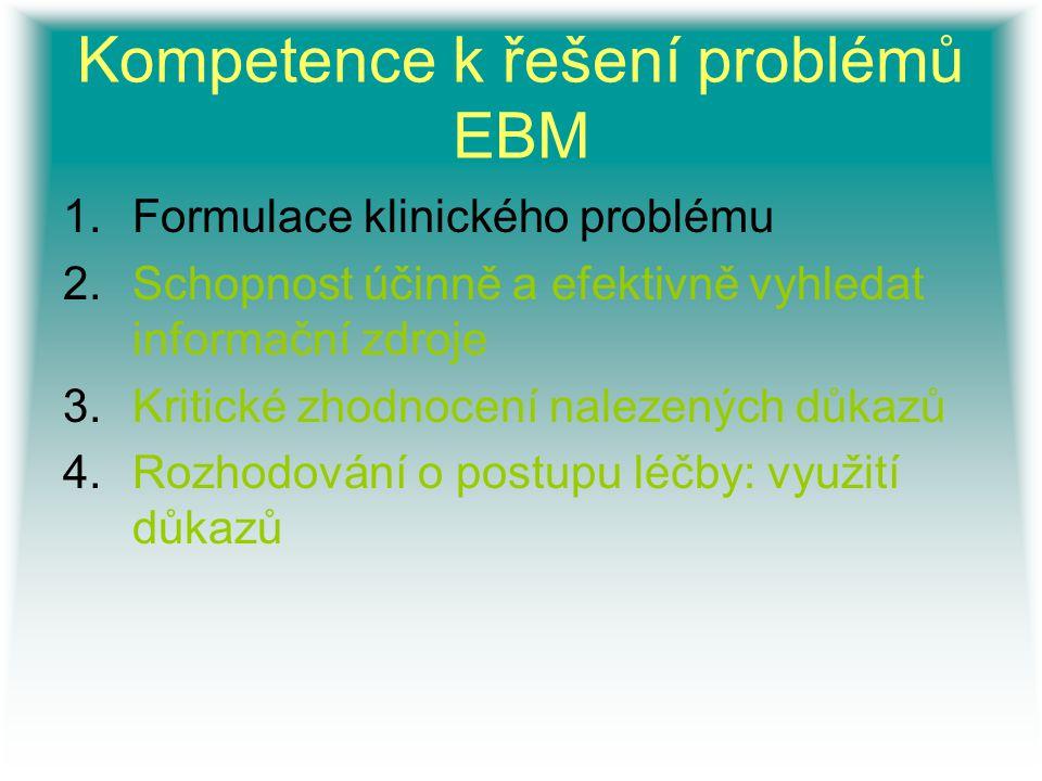 Kompetence k řešení problémů EBM 1.Formulace klinického problému 2.Schopnost účinně a efektivně vyhledat informační zdroje 3.Kritické zhodnocení nalez