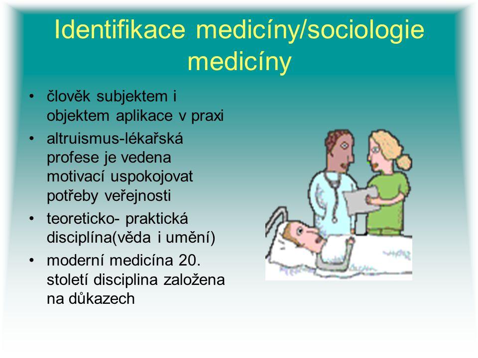 Identifikace medicíny/sociologie medicíny člověk subjektem i objektem aplikace v praxi altruismus-lékařská profese je vedena motivací uspokojovat potř