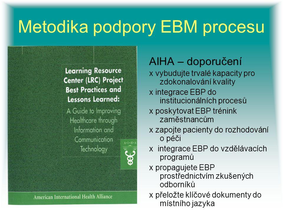 Metodika podpory EBM procesu AIHA – doporučení x vybudujte trvalé kapacity pro zdokonalování kvality x integrace EBP do institucionálních procesů x po