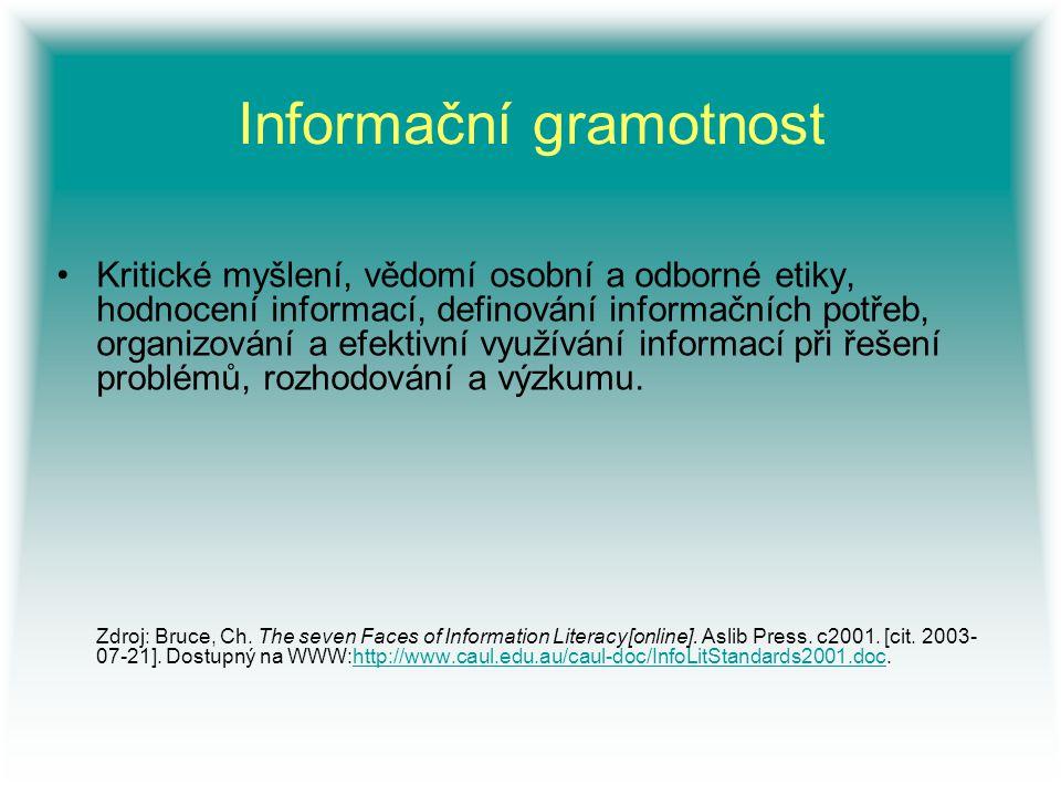 Informační gramotnost Kritické myšlení, vědomí osobní a odborné etiky, hodnocení informací, definování informačních potřeb, organizování a efektivní v