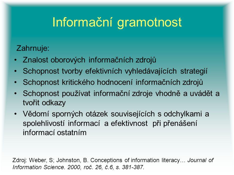 Informační gramotnost Zahrnuje: Znalost oborových informačních zdrojů Schopnost tvorby efektivních vyhledávajících strategií Schopnost kritického hodn