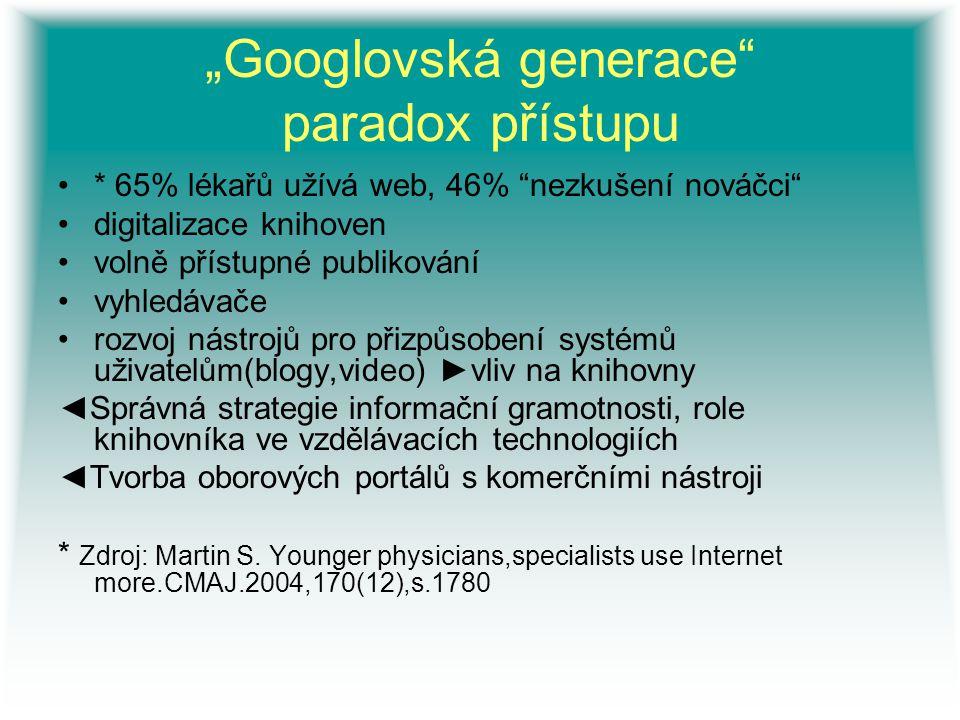 """""""Googlovská generace"""" paradox přístupu * 65% lékařů užívá web, 46% """"nezkušení nováčci"""" digitalizace knihoven volně přístupné publikování vyhledávače r"""