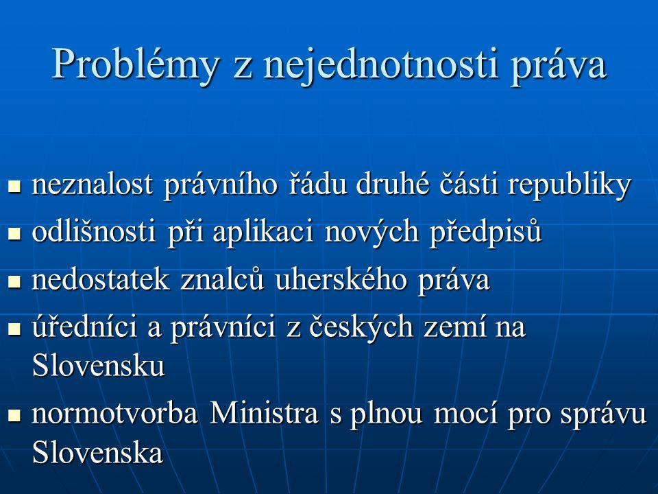 Problémy z nejednotnosti práva neznalost právního řádu druhé části republiky neznalost právního řádu druhé části republiky odlišnosti při aplikaci nov
