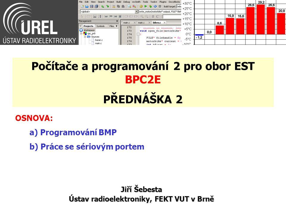 Práce se sériovým portem (11/20) int main() { int cport_nr; // COM port number int cport_bdr=9600; // COM port baudrate 9.6 kBd char cport_mode[]={ 8 , N , 1 ,0};// COM port mode //- 8 bits, no parity, 1 stopbit, no control char tx_str[20]; // transmitting string printf( Insert COM port number: ); scanf( %d , &cport_nr); if(RS232_OpenComport(cport_nr-1, cport_bdr, cport_mode)) { printf( \nCan not open comport\n ); printf( Press ENTER ); getchar(); return(0); }
