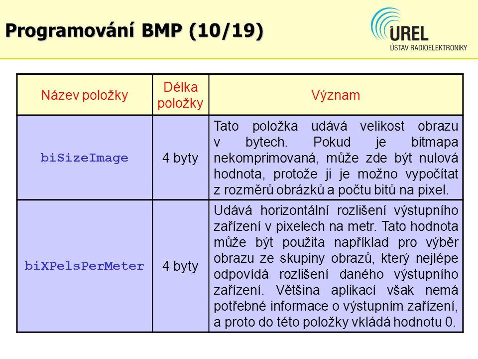 Programování BMP (10/19) Název položky Délka položky Význam biSizeImage 4 byty Tato položka udává velikost obrazu v bytech. Pokud je bitmapa nekomprim