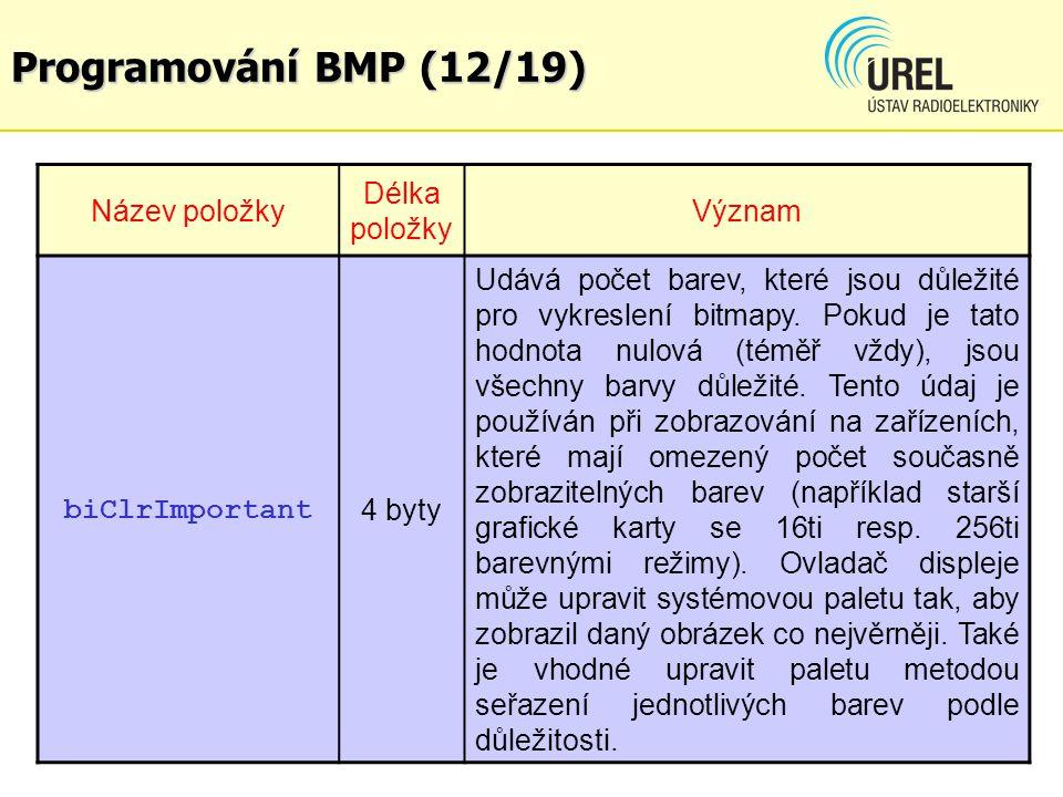 Programování BMP (12/19) Název položky Délka položky Význam biClrImportant 4 byty Udává počet barev, které jsou důležité pro vykreslení bitmapy. Pokud