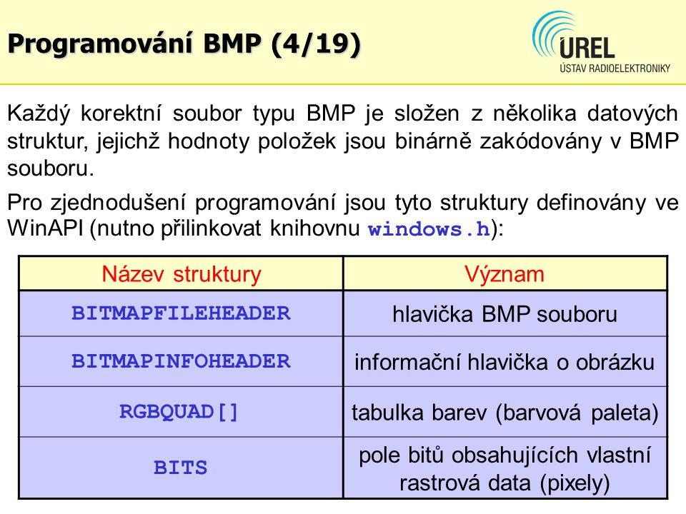 Programování BMP (5/19) Uspořádání hlaviček, palety a dat v BMP souboru: Barvy jsou definovány jako součtové příspěvky složek R-G-B: