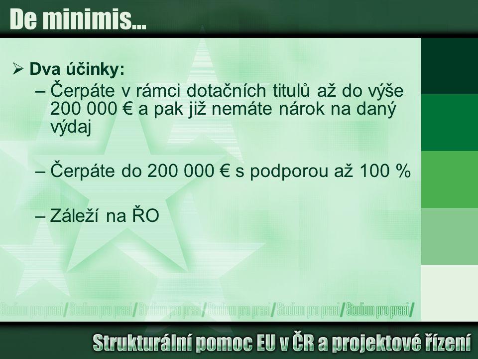 De minimis…  Dva účinky: –Čerpáte v rámci dotačních titulů až do výše 200 000 € a pak již nemáte nárok na daný výdaj –Čerpáte do 200 000 € s podporou až 100 % –Záleží na ŘO