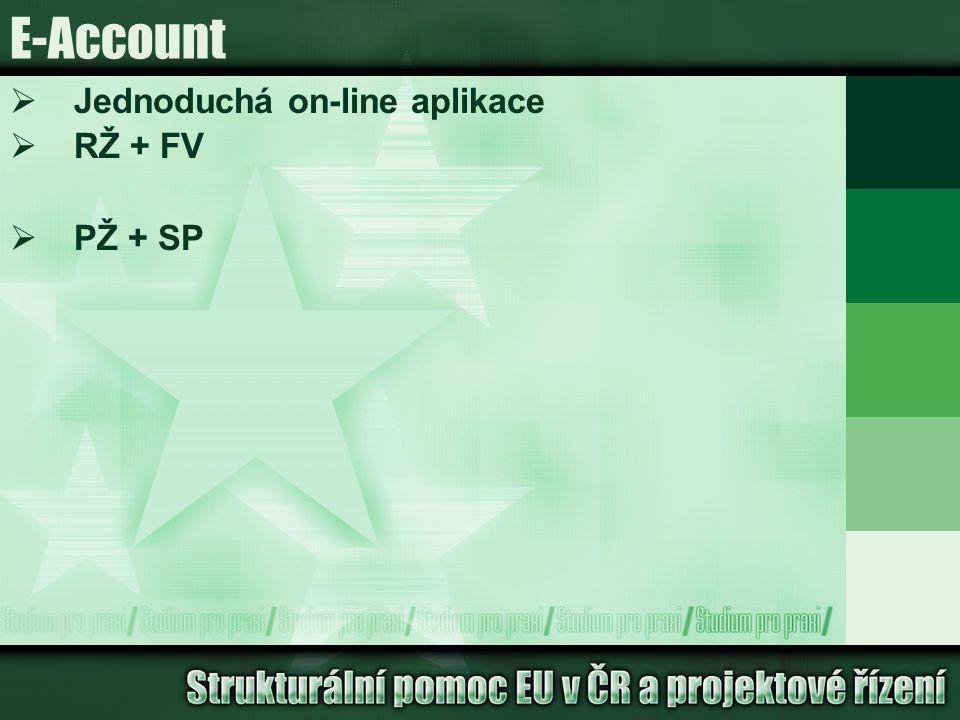 E-Account  Jednoduchá on-line aplikace  RŽ + FV  PŽ + SP