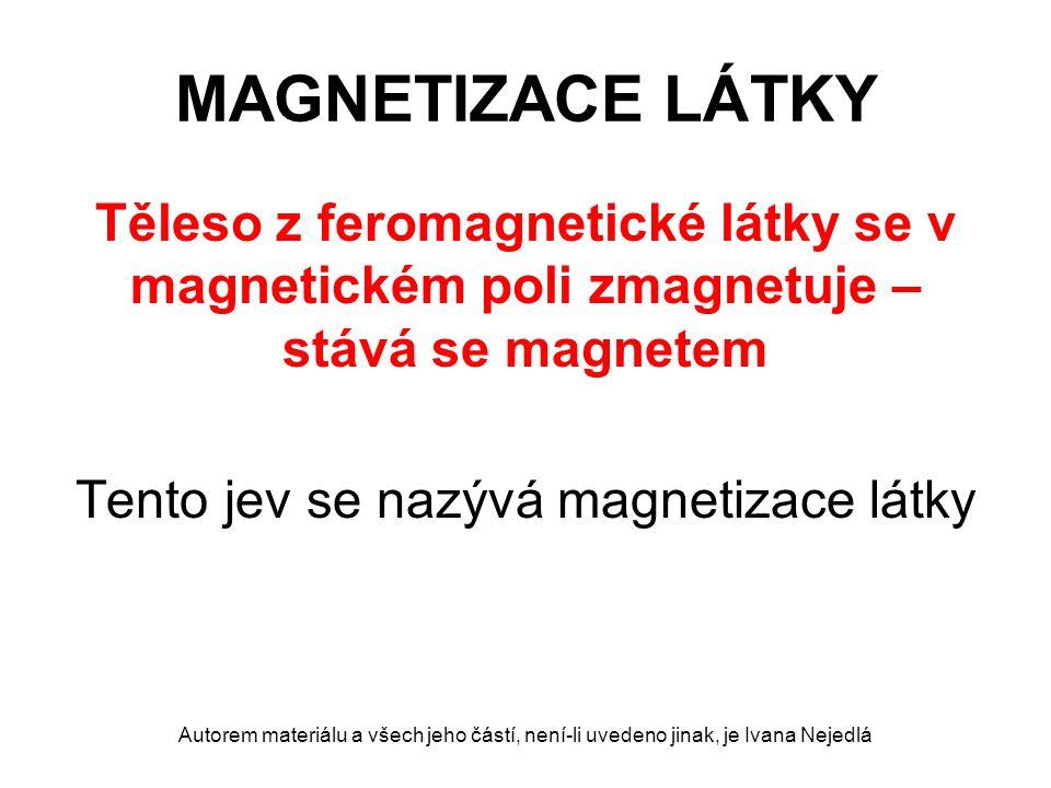 MAGNETIZACE LÁTKY magneticky měkká ocel magneticky tvrdá ocel Autorem materiálu a všech jeho částí, není-li uvedeno jinak, je Ivana Nejedlá