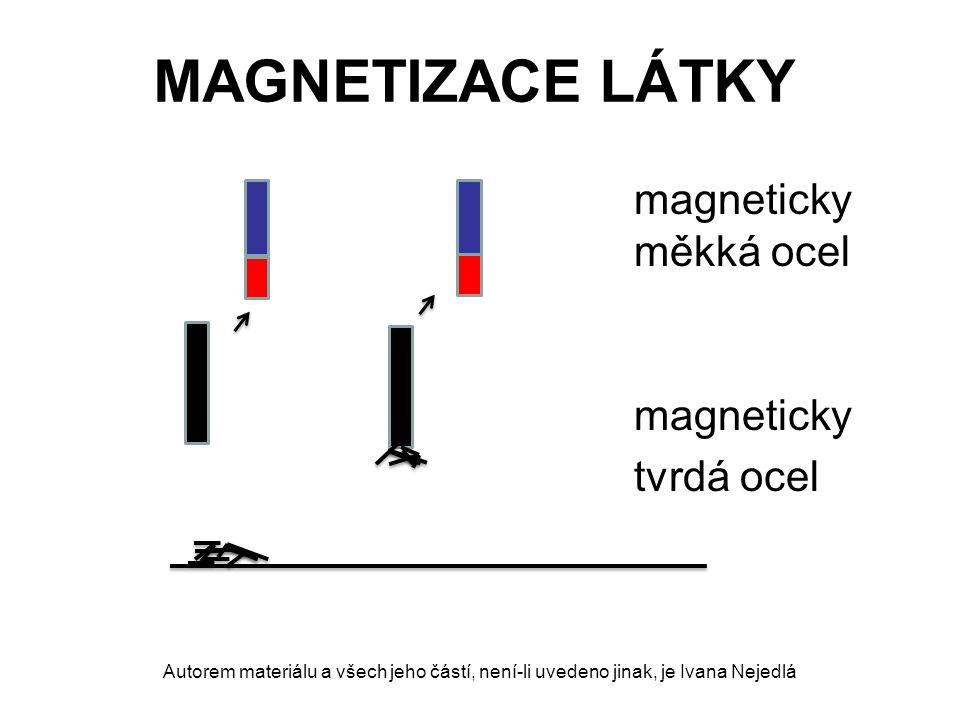 MAGNETIZACE LÁTKY magneticky měkká ocel po zániku magnetického pole ztrácí své magnetické účinky dočasný magnet Autorem materiálu a všech jeho částí, není-li uvedeno jinak, je Ivana Nejedlá