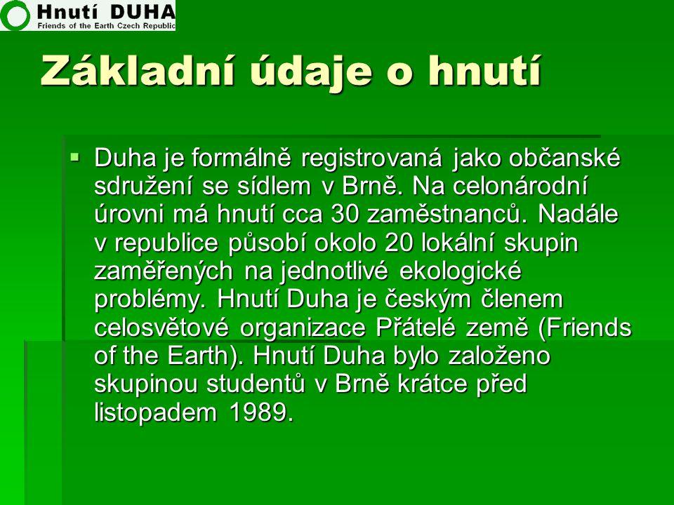 Základní údaje o hnutí  Duha je formálně registrovaná jako občanské sdružení se sídlem v Brně. Na celonárodní úrovni má hnutí cca 30 zaměstnanců. Nad