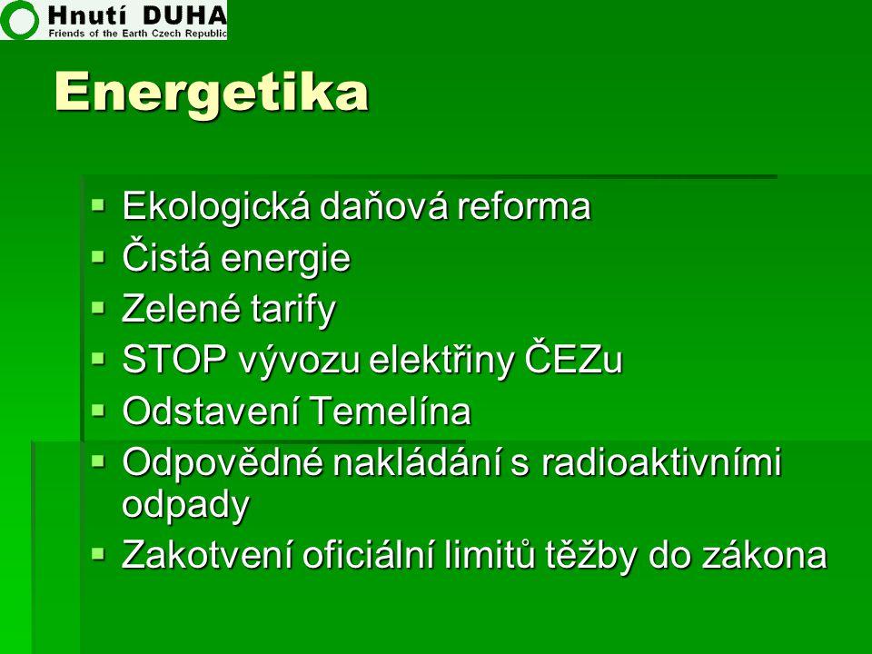 Energetika  Ekologická daňová reforma  Čistá energie  Zelené tarify  STOP vývozu elektřiny ČEZu  Odstavení Temelína  Odpovědné nakládání s radio