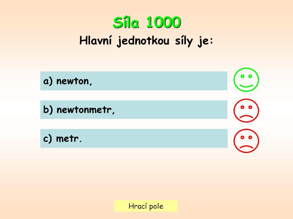 Hrací pole a) newton, b) newtonmetr, c) metr. Síla 1000 Hlavní jednotkou síly je: