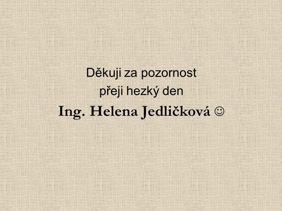 Děkuji za pozornost přeji hezký den Ing. Helena Jedličková