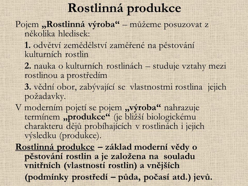 """Rostlinná produkce Pojem """"Rostlinná výroba – můžeme posuzovat z několika hledisek: 1."""
