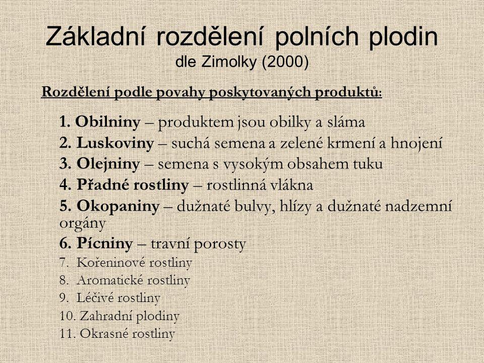 Základní rozdělení polních plodin dle Zimolky (2000) Rozdělení podle povahy poskytovaných produktů : 1.