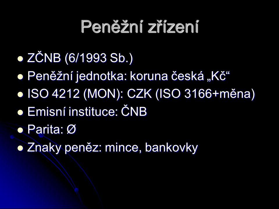 """Peněžní zřízení ZČNB (6/1993 Sb.) ZČNB (6/1993 Sb.) Peněžní jednotka: koruna česká """"Kč"""" Peněžní jednotka: koruna česká """"Kč"""" ISO 4212 (MON): CZK (ISO 3"""