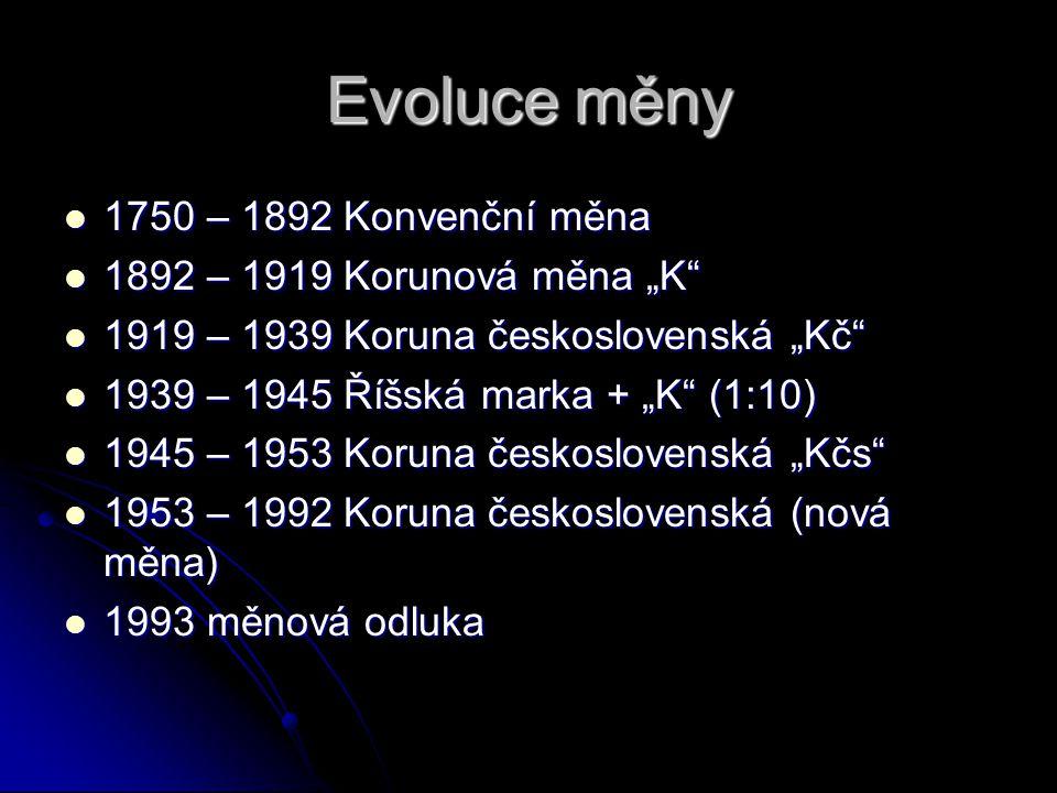 """Evoluce měny 1750 – 1892 Konvenční měna 1750 – 1892 Konvenční měna 1892 – 1919 Korunová měna """"K"""" 1892 – 1919 Korunová měna """"K"""" 1919 – 1939 Koruna česk"""