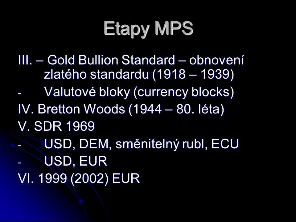 Etapy MPS III. – Gold Bullion Standard – obnovení zlatého standardu (1918 – 1939) - Valutové bloky (currency blocks) IV. Bretton Woods (1944 – 80. lét