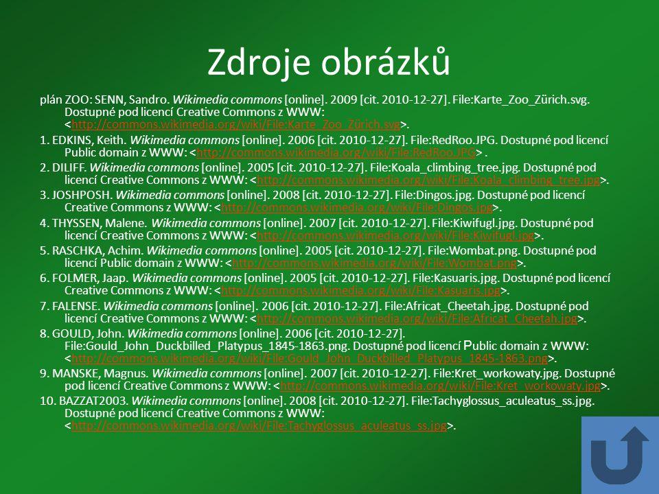 Zdroje obrázků plán ZOO: SENN, Sandro. Wikimedia commons [online]. 2009 [cit. 2010-12-27]. File:Karte_Zoo_Zürich.svg. Dostupné pod licencí Creative Co