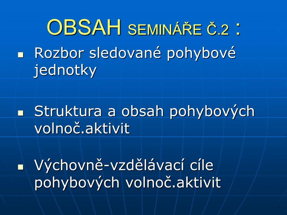 OBSAH SEMINÁŘE Č.2 : Rozbor sledované pohybové jednotky Rozbor sledované pohybové jednotky Struktura a obsah pohybových volnoč.aktivit Struktura a obs