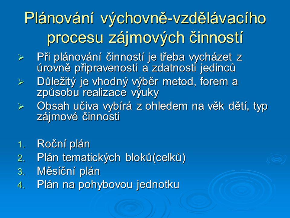 Plánování výchovně-vzdělávacího procesu zájmových činností  Při plánování činností je třeba vycházet z úrovně připravenosti a zdatnosti jedinců  Důl