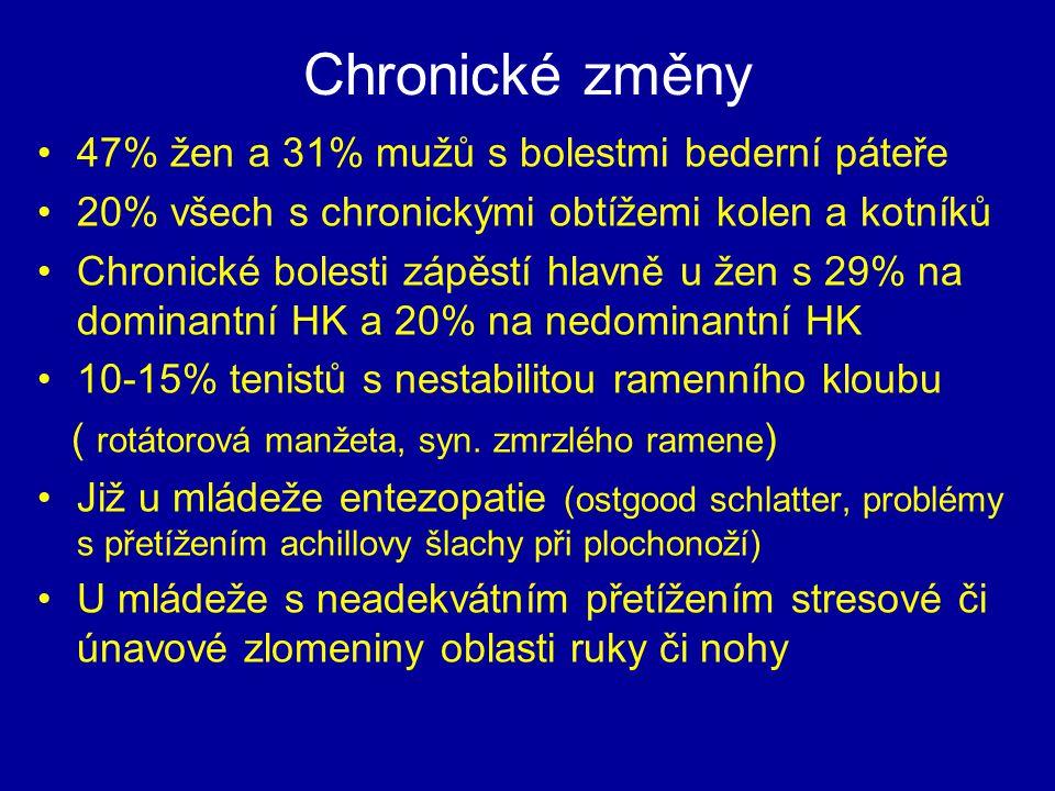 Chronické změny 47% žen a 31% mužů s bolestmi bederní páteře 20% všech s chronickými obtížemi kolen a kotníků Chronické bolesti zápěstí hlavně u žen s