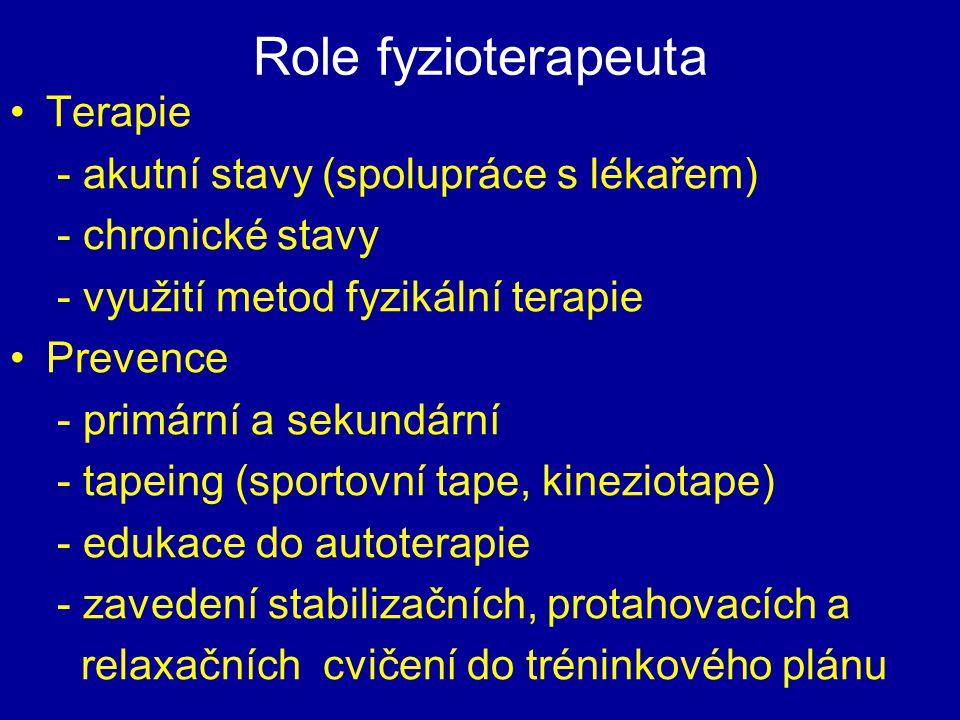 Role fyzioterapeuta Terapie - akutní stavy (spolupráce s lékařem) - chronické stavy - využití metod fyzikální terapie Prevence - primární a sekundární