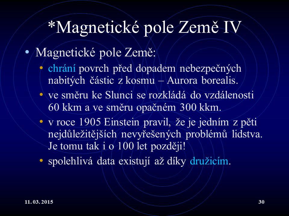 11. 03. 201530 *Magnetické pole Země IV Magnetické pole Země: chrání povrch před dopadem nebezpečných nabitých částic z kosmu – Aurora borealis. ve sm