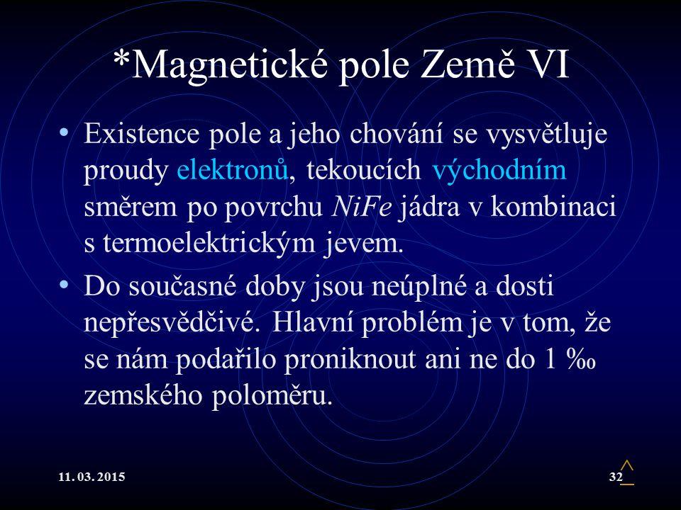 11. 03. 201532 *Magnetické pole Země VI Existence pole a jeho chování se vysvětluje proudy elektronů, tekoucích východním směrem po povrchu NiFe jádra