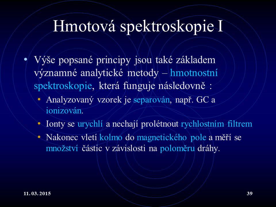 11. 03. 201539 Hmotová spektroskopie I Výše popsané principy jsou také základem významné analytické metody – hmotnostní spektroskopie, která funguje n
