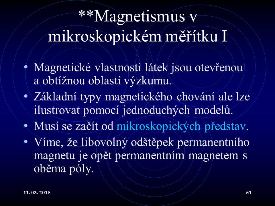 11. 03. 201551 **Magnetismus v mikroskopickém měřítku I Magnetické vlastnosti látek jsou otevřenou a obtížnou oblastí výzkumu. Základní typy magnetick