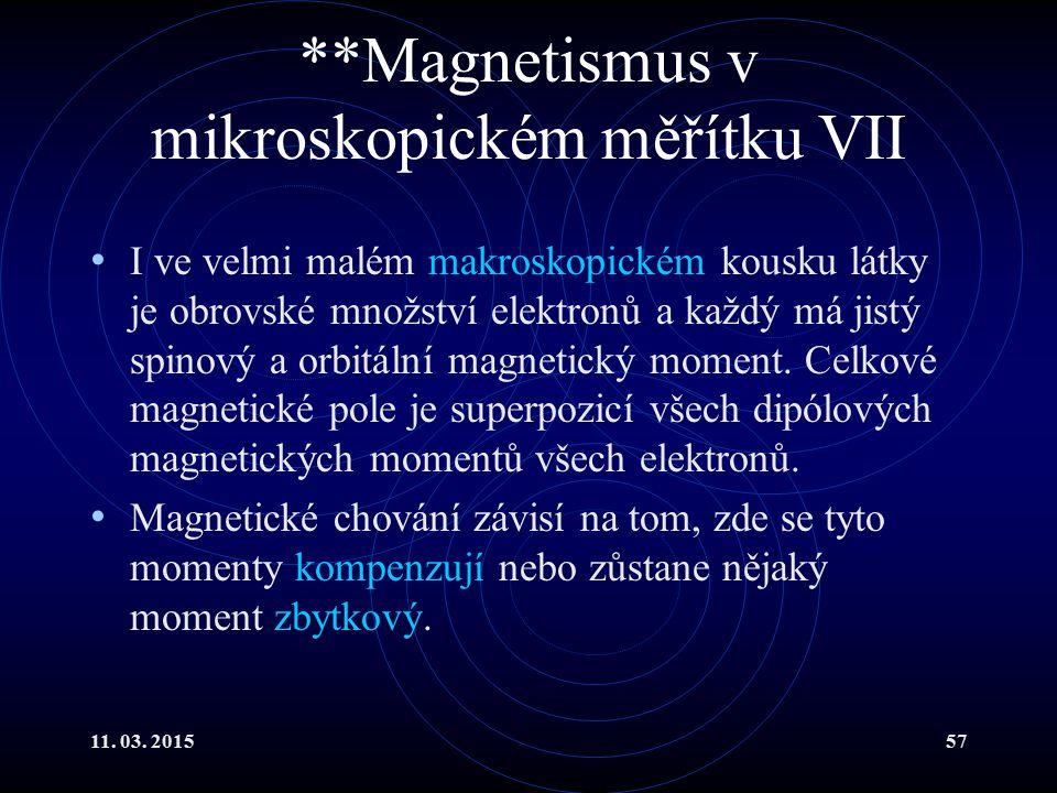 11. 03. 201557 **Magnetismus v mikroskopickém měřítku VII I ve velmi malém makroskopickém kousku látky je obrovské množství elektronů a každý má jistý