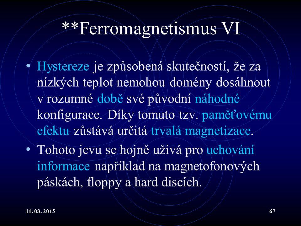 11. 03. 201567 **Ferromagnetismus VI Hystereze je způsobená skutečností, že za nízkých teplot nemohou domény dosáhnout v rozumné době své původní náho