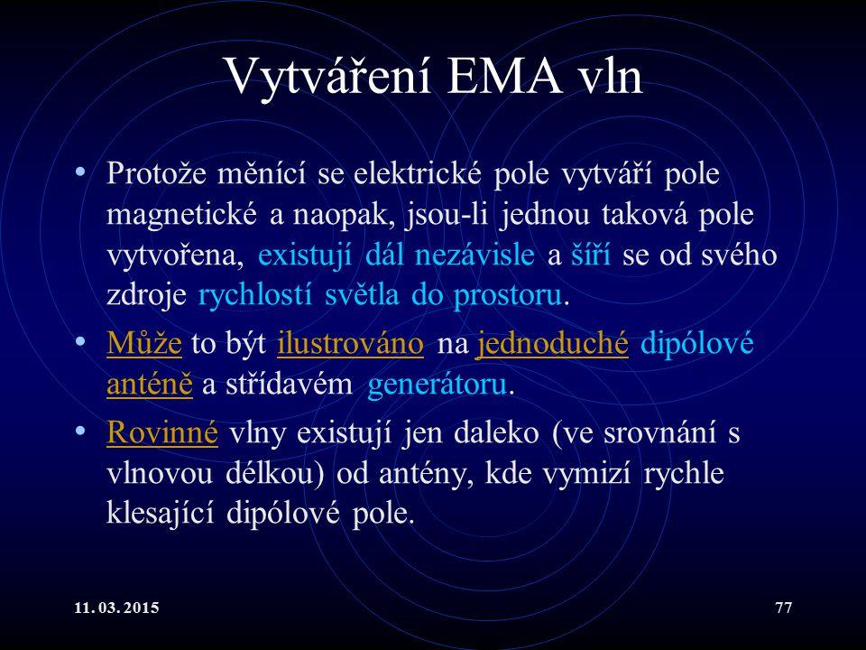 11. 03. 201577 Vytváření EMA vln Protože měnící se elektrické pole vytváří pole magnetické a naopak, jsou-li jednou taková pole vytvořena, existují dá