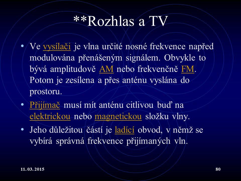 11. 03. 201580 **Rozhlas a TV Ve vysílači je vlna určité nosné frekvence napřed modulována přenášeným signálem. Obvykle to bývá amplitudově AM nebo fr